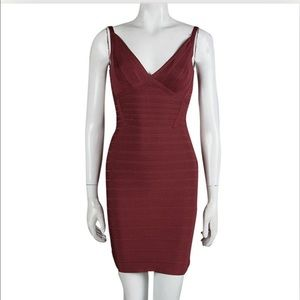 Herve Ledger Bandage Dress in Maroon Size XXS